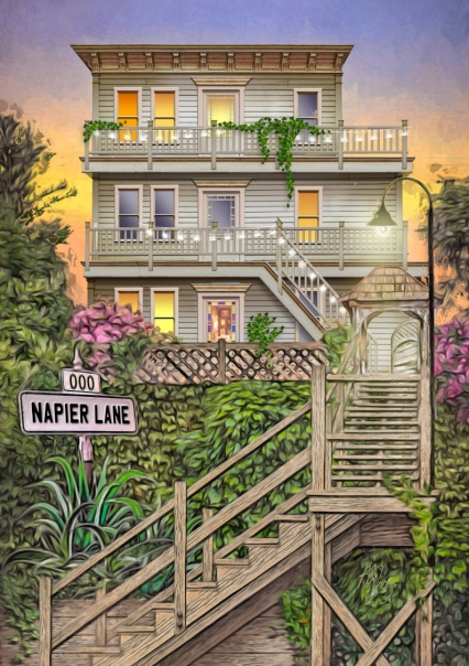 Based on a house on Napier Lane in San Francisco, this is my version of Armistead Maupin's Barbary Lane