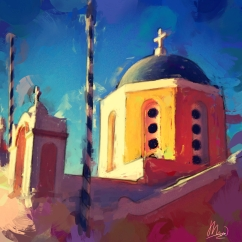 Digital Painting of Santorini Church by Mark Wallis