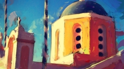 Digital Painting of Santorini Church by Mark Wallis